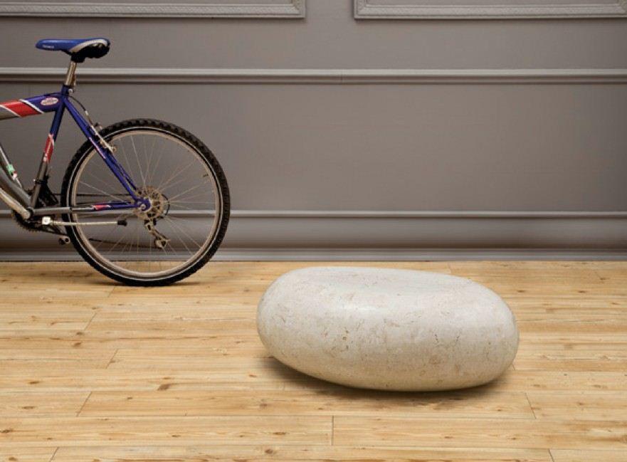 Tavolino in pietra fossile piccolo bianco