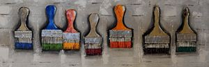Quadro con decorazioni in rilievo in legno