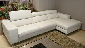 divano pelle con penisola e recliner